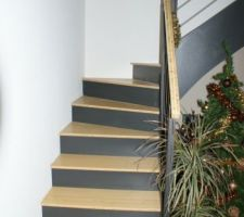 escalier beton recouvert de bois de bambous et contre marche en composite