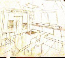 Plan de cuisine réalisé au crayon par schmidt Pau
