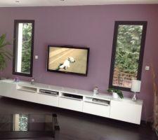 De la couleur et un nouveau meuble tv dans notre salon.. Restera à changer la table basse et le canapé mais ce sera bien plus tard