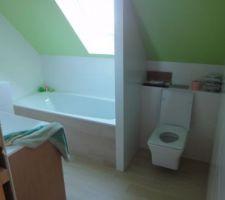 Salle de bain optimisée, avec toilettes, douche à l'italienne et baignoire