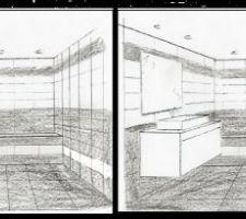 Deux idées de disposition de la faïence pour la salle de bain des enfants.
