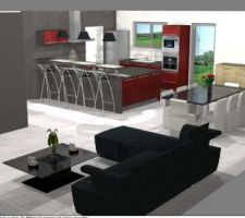 Voilà ce que donneras notre cuisine vue du coin salon ! des idees pour la couleurs des murs ???