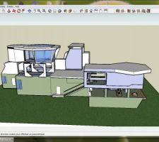 Schéma google skechup, vue latérale. à l'avant garage/terasse/chambre. A l'arrière chambre panoramique