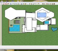 Vue de dessus : terrasse avec piscine a débordement, jardin intérieur, jacuzzi  sur le toit à l'arrière.