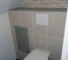 WC suspendue et pierres apparentes