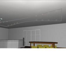 Essaie de visualisation du faut plafond en 3d,  vue depuis la cuisine.