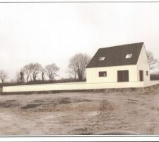 Implantation de la maison sur une photo du terrain