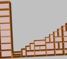 Plan en 3D de l'escalier devant desservie 3 niveau de la maison.