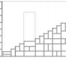 Plan de coupe de l'escalier avec le RDC1, la porte du RDC2 et sur la droite la niche-mezzanine.