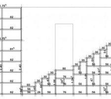 Plan de coupe de l'escalier avec les mesures