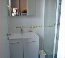 Notre salle d'eau au rdc attenante au bureau et très pratique lorsqu'il y a des invités ou même si l'un d'entre nous veut sa salle de bain :-)