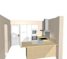 projet cuisine grande armoire
