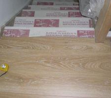 Finition parquet sur marche escalier