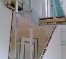 percage de la tremie et decoupe de la cloison pour le futur escalier