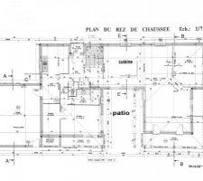 C'est le plan définitif du rdc avec le muret de la cuisine