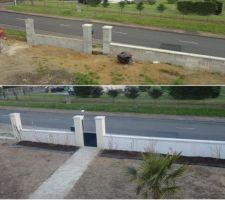 Evolution de l'aménagement devant la maison, bientôt les grilles et le portail, bordures et gazon et allée carrelée.