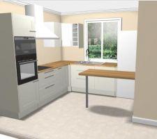Disposition meubles cuisine (modèle Ädel d'Ikea, le plan de travail sera différent)