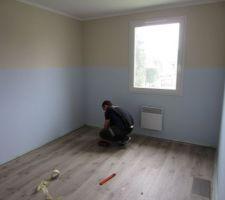 la chambre de notre premier fils peinture et sol faits