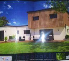 Vue 3D de la maison. <br />  <br /> La terrasse ne sera pas réalisée dans un premier temps (et derrière, il y aura 2 maisons)