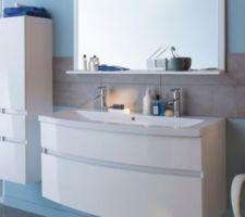 Voici notre meuble de salle de bain nile de chez cook et lewis en blanc 120 avec une colonne