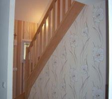 le hall d entree et l escalier deco en cours vue du sejour