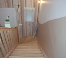 Descente de l'escalier et hall d'entrée   vue de l'étage  déco en cours