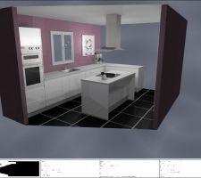 Plan de la future cuisine au style épuré - Meubles laqués blancs avec plan de travail en quartz blanc - électro-ménagers en inox -  carrelage gris foncé en carreaux 60*60