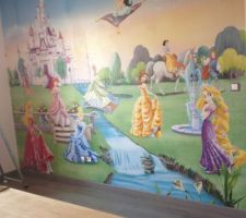 voila chambre de ma fille finie fresque murale finie parquet fini
