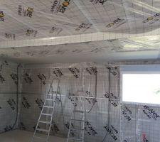 pose de la membrane pare vapeur vario duplex uva et début de la pose du placo au plafond : j'appréhendais la pose de la membrane en étant juste à deux mais en fait c'est un jeu d'enfant.