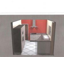 Première idée cuisine, les meubles armoires seront masqués par un mur de 65cm de large. Le plan bar sera sur-élevé et fera la séparation salon/cuisine.