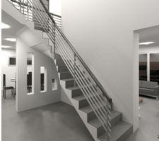 Vue 3D de l'escalier réalisée par Marcio (Etec)
