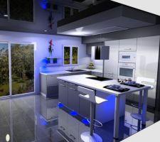 Commande de notre cuisine, photo de notre choix final  (il a oublié de centrer les deux étagères lumineuses du mur mais sinon c'est ça) ouhhhh que je suis fière de ma belle cuisine ;-)