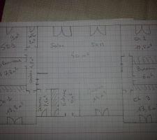 voici le plan de notre maison avec 3 espace bien definit 1 cote parents a gauche avec chambre 1 sdb et buanderie 1 espace de vie au centre 1 espace enfants chambre 2 et 3 et bureau qui se transformera en sdb par la suite espace ferme par porte colissante