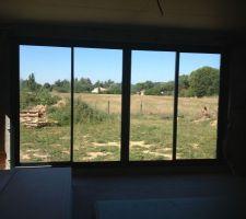 baies vitree 4 vantaux sur 2 rails du salon