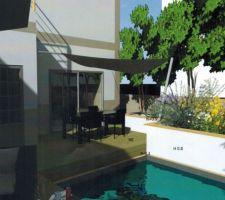 Terrasse principale et piscine avec la terrasse secondaire ouverte.