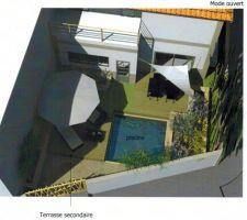 Vue générale avec la terrasse secondaire ouverte.