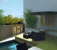 Muret et terrasse secondaire ouverte.