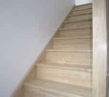 L'escalier, marches poncées et protégées de 3 couches de gel vitrificateur teinte incolore ciré.