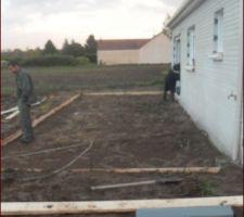 preparations pour la dalle de la terrasse