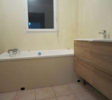 le meuble sous vasques sensea serie remix de chez lm et le tablier de baignoire enduit de masqu carrelage