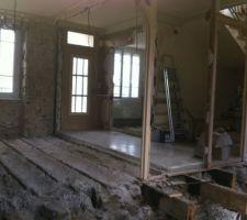 Démolition des cloison et du plancher bois pourri