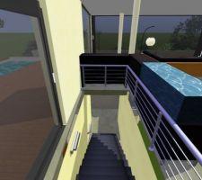 La tremie de l'escalier devant le coin baies vitrées, qui s'ouvrira entiérement, une seule colonne porte le toit-dalle à ce niveau