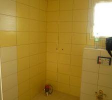Sde rdc, en 33*25, blanc et jaune. vue sur le coin douche et wc