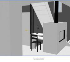 Vue cuisine avec espace sous escalier utilisé comme table vide poche