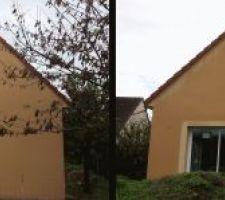 murs par temps humide trace apparente au centre sur mur avec fenetres