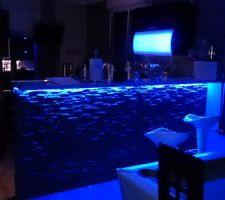 Mise en place des Leds bleue sous le bar. Effet ambiance de l' éclairage réussit et économie en électricité garantie.