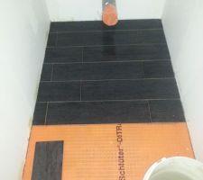 Carrelage imitation bois de couleur noir dans la salle de bain du haut ainsi que dans les wc du haut.