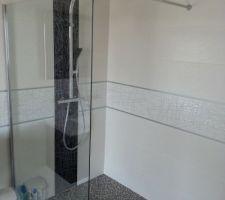 Vitre Lunes de chez Novellini pour douche italienne 120*120. Barre de douche Oblo Chrome Jacob Delafon.
