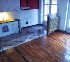 parquet clair en chataigner qu on a huile par la suite a l huile de lin pour le moment sur la photo juste lave suite aux travaux et aux briques