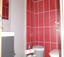 Le wc du rdc terminé : un coin carrelé autour de la cuvette et un angle carrelé à gauche autour du lave-main. Au dessus de la cuvette, le caisson pour la vmc